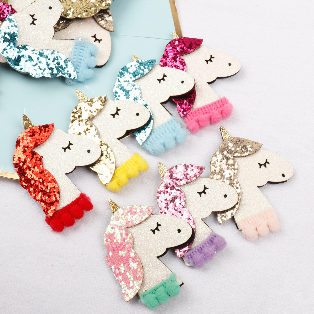 Learned 7pcs/bag Felt Unicorn Patch Glitter Hair Accessories With Pompom Embroidery Accessories Diy Hair Rope Ornament Handmade Material Apparel Sewing & Fabric Arts,crafts & Sewing