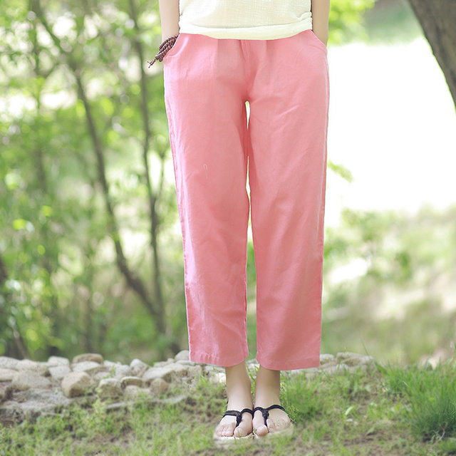 18cd4dec2d7e4 7 Candy color Solid Elastic waist Women Harem Pants Capri Loose Casual  Cotton Linen Summer Pants