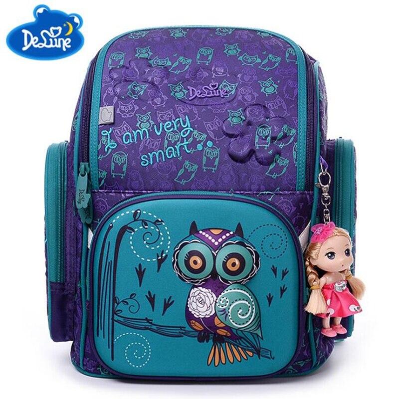 Brand Delune New Girl School Bags 3D Cute Bear Flower Pattern Waterproof Orthopedic Backpack Schoolbag Mochila Infantil