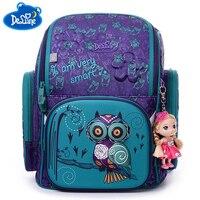 Brand Delune New Girl School Bags 3D Cute Bear Flower Pattern Waterproof Orthopedic Backpack Schoolbag Mochila
