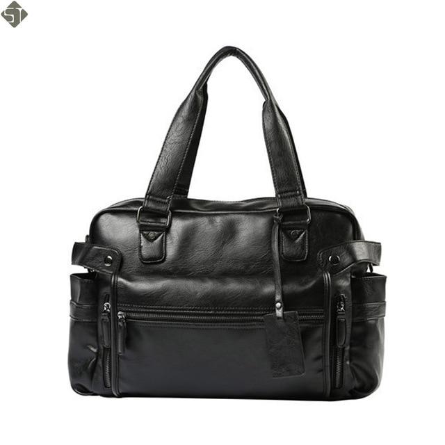 2e652bddf4f01 Wysokiej jakości skórzane męskie torby podróżne duża pojemność mężczyźni  Messenger torby podróżne torebki męskie torby na