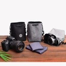 Cordão à prova de choque câmera feixe bolsos pano lente protetora bolsa saco para canon nikon fuji sony panasonic olympus