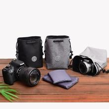 Drawstring Shockproof Camera Beam Pockets Cloth Protective Lens Pouch Bag For Canon Nikon Fuji Sony Panasonic Olympus