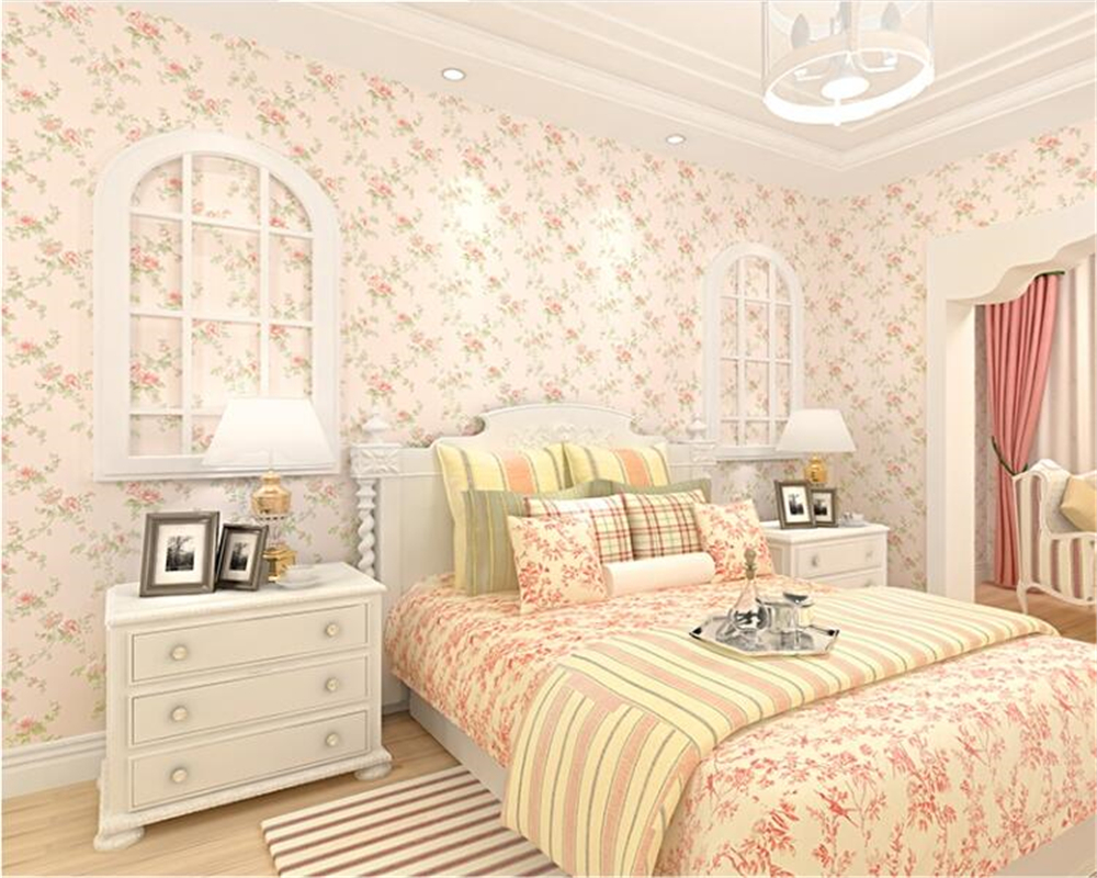 korean bedroom background living papier peint pastoral beibehang walls floral tv