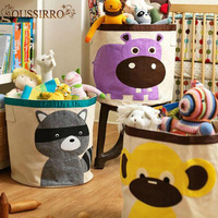 New High Quality Cartoon Laundry Basket For CHildren Room Decoration Tree Bear Hedgehog Toy Cleared Can Stand Canvas Storage Bag