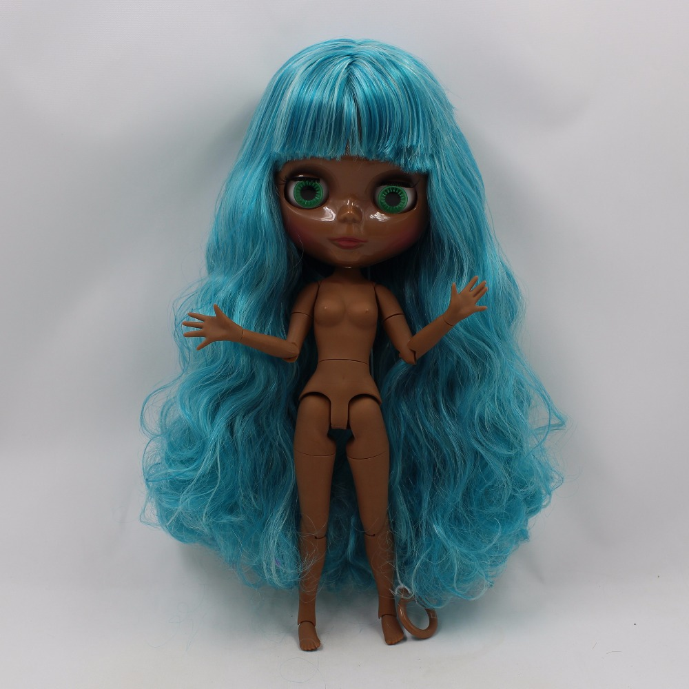 Neo Blythe Doll with Aquamarine Hair, Black skin, Shiny Face & Jointed Body 3
