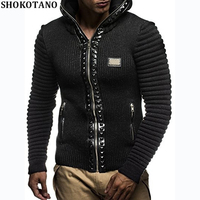 SHOKOTANO Men Autumn And Winter Sweater Coat Slim Fashion Hipster Rivet Jacket With Hat Male Cool Stylish Tops Coats New 2018