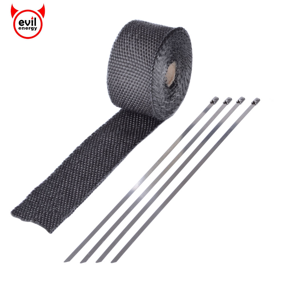 evil energy 16 Feet*2 Exhaust Wrap Black GlassFiber Turbo Manifold Heat Heater Wrap+4pcs Stainless Zip Ties For Car Motorcycle