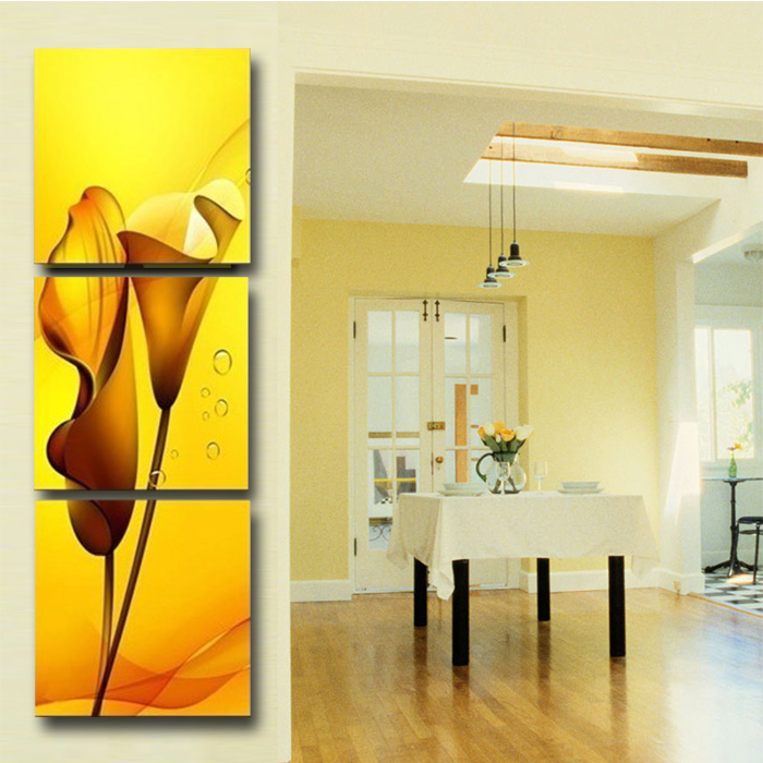 High Quality 3 Panels Wall Art Lily Flower Modern Painting ...