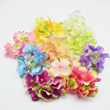 1pcs 3 branch Hydrangea Silk Artificial Flowers Head For Wedding Car Decoration DIY Garland Decorative Floristry Fake Flowers(China)