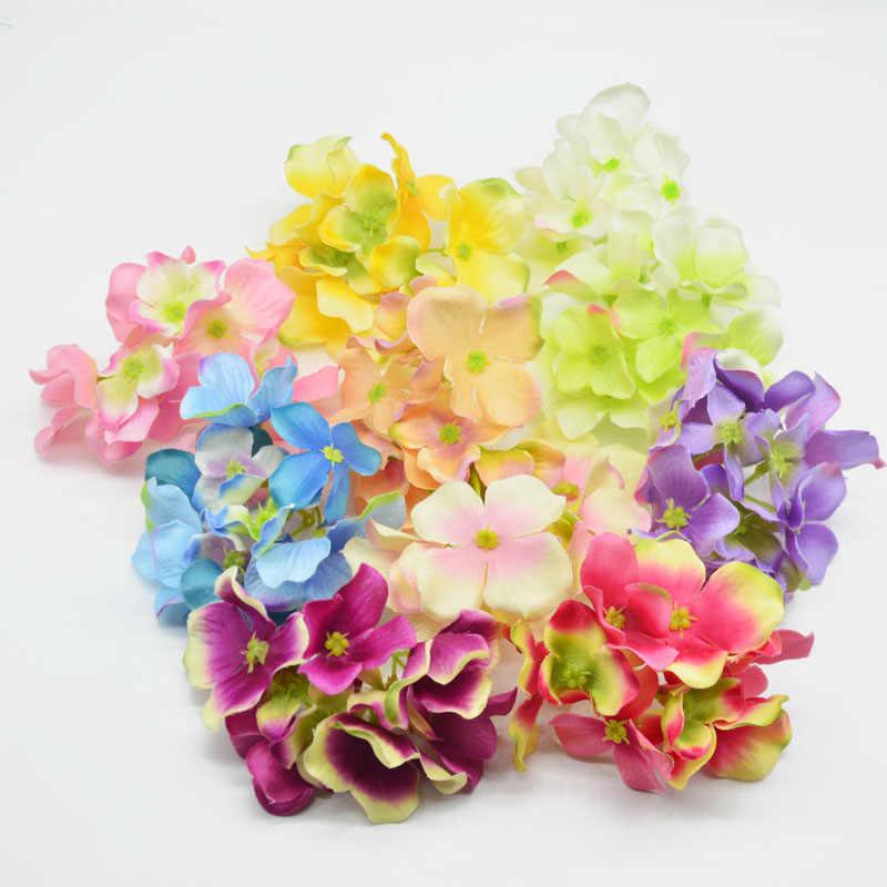 1pcs 3 branch Hydrangea Silk Artificial Flowers Head For Wedding Car Decoration DIY Garland Decorative Floristry Fake Flowers