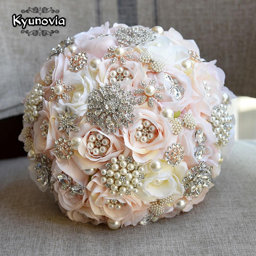 Kyunovia Round Blush Bouquet Teardrop Butterfly Brooches Bouquet Alternative Cascading Bouquets Crystal Wedding Flowers FE87