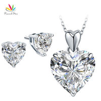 Peacock Star Solid 925 Sterling Silver Heart Pendant Necklace Earrings Set Bridesmaid Wedding Jewelry FN8043 FE8084