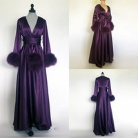 2019 Charming Purple Night Robe Long Sleeves Custom Made Fur Party Sleepwear Cheap Nightgowns Robes