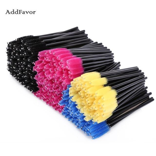 Addfavor 100pcs Cosmetics Eyelash Comb Brush Set Kit Disposable Eyelash Eyebrow Makeup Brush Mascara Wands Extension Tools