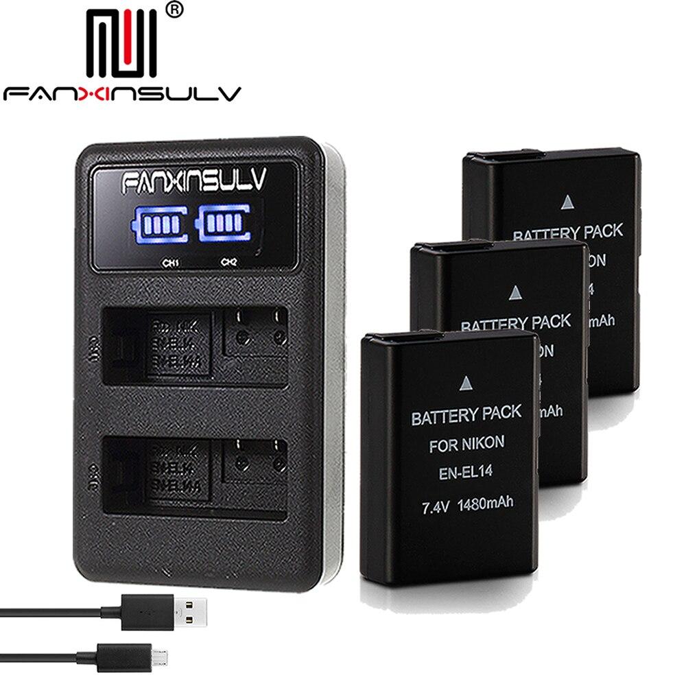 3x EN-EL14 en el14 batterie + chargeur pour Nikon D5300 REFLEX caméra batterie D5600 D5100 D5200 D5500 D3500 D3400 D3300 d3100 de Suivi