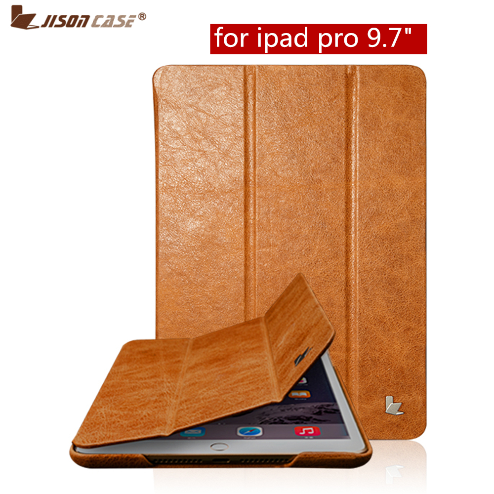 Jisoncase Smart Tablet Cover for iPad Pro 9.7 inch Case Luxury Brand Genuine Leather with Magnetic Smart Case for iPad Pro 9.7
