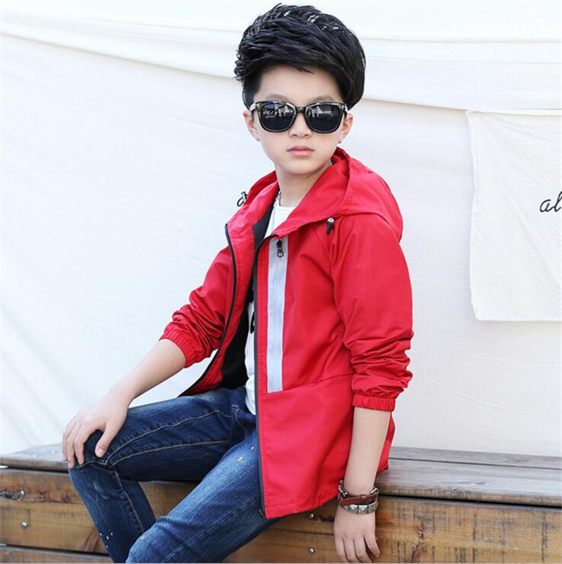 4-16T Kids New Arrival 2017 Spring Boy Spring Jackets Outerwear Sports Hooded Solid Blue Red Jacket for Boys Kids Coat Jk036