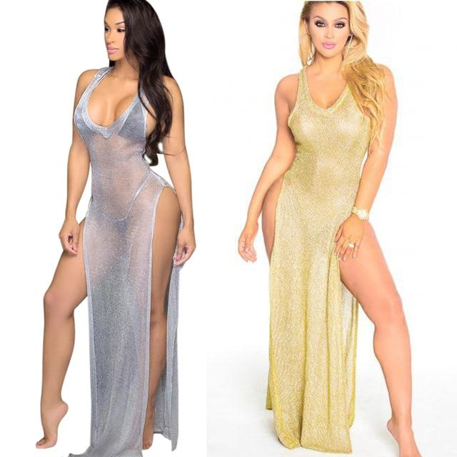 eed5d6ae4a0a Night Club Sexy Dress Transparent Knitted High Split Vestido Long Dress  Beach protect sun burning