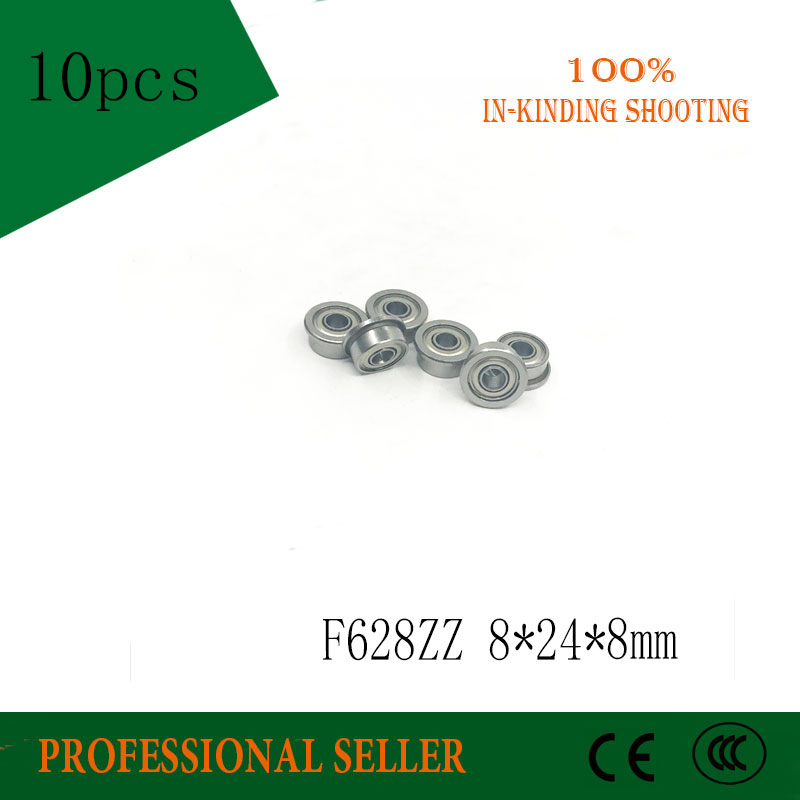 Free Shipping 10Pcs F628-2Z F628ZZ  F628 Zz ABEC-1 P0 Flanged Flange Deep Groove Ball Bearings 8 X 24 X 8mm  For 3D Printer