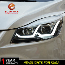 Car Styling Head Lamp case for Ford Kuga Headlights 2013-2015 LED Headlight DRL Lens Double Beam Bi-Xenon HID car Accessories
