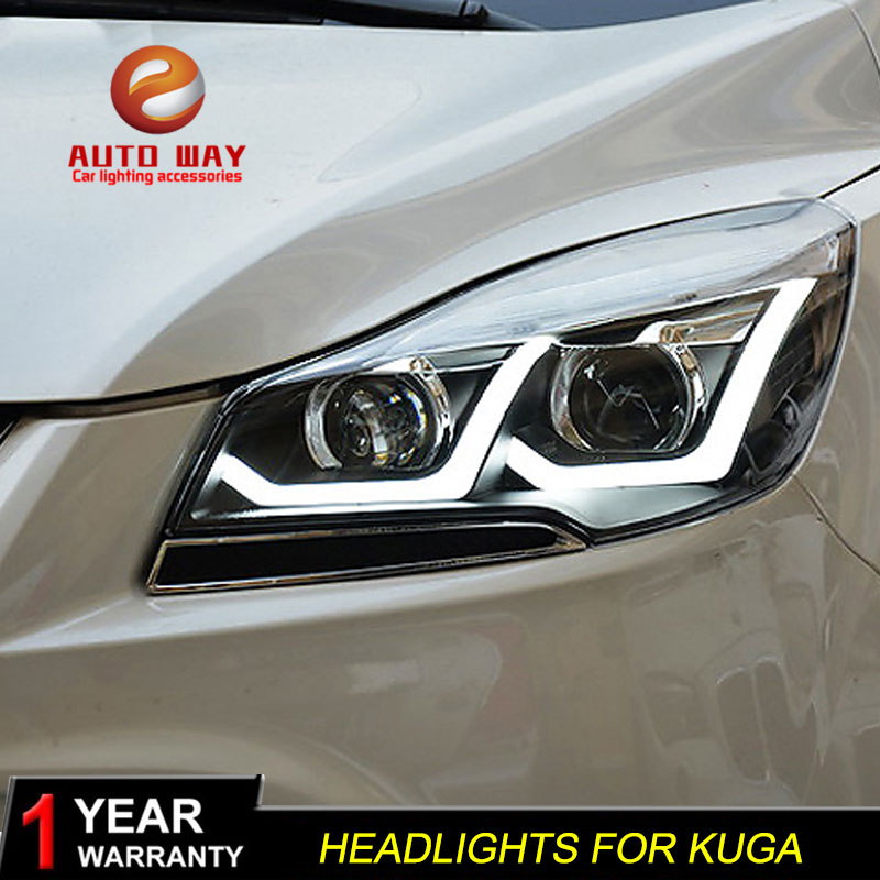Car Styling Head Lamp case for Ford Kuga Headlights 2013 2015 LED Headlight DRL Lens Double Beam Bi Xenon HID car Accessories