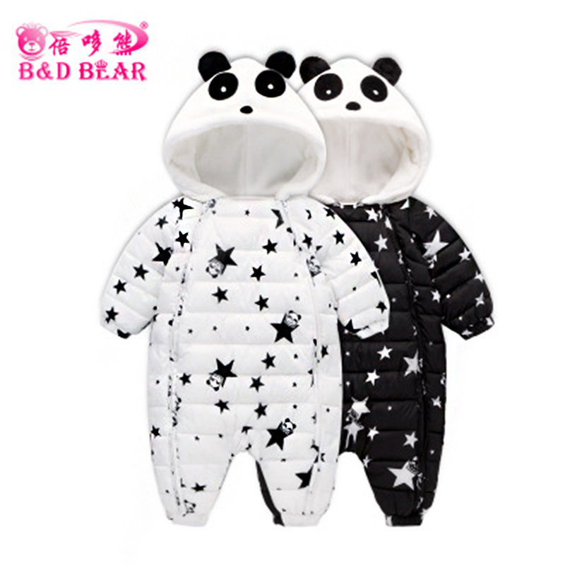 Newborn Snowsuit Baby Rompers Boys Long Sleeve Winter Animal Infant Clothing Jumpsuits Panda Down Coats Jacket for Girls 0-18M baby climb clothing newborn boys girls warm romper spring autumn winter baby cotton knit jumpsuits 0 18m long sleeves rompers