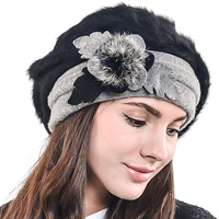 レディーフレンチベレーウールベレーレディースクラシックアーティストアンゴラベレーキャップシックなビーニー冬の帽子hisshe