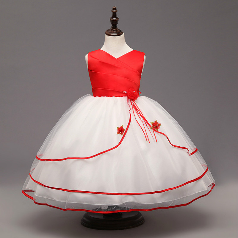 4-7 t Kids Wedding Dress Princess Summer Girl Dresses vestido infantil Red Gold Pink Rose Flower tutu Ball Gown Lace Lady Dress цены онлайн