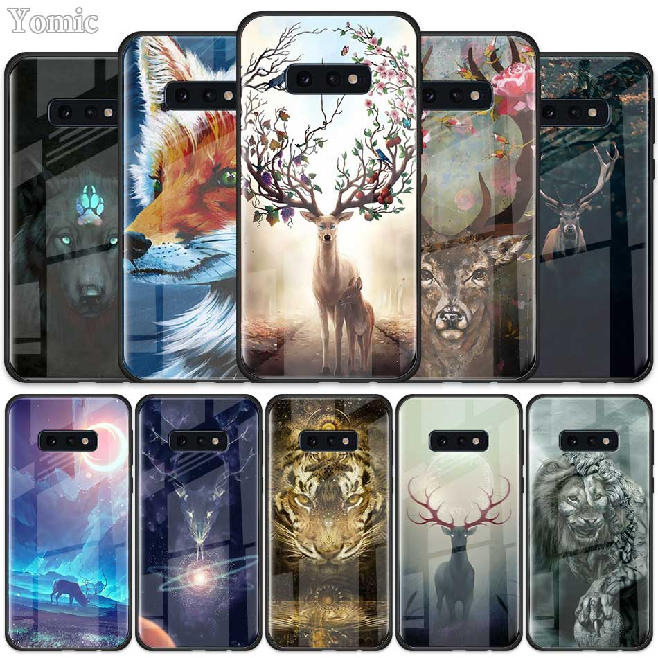 Animal deer lion <font><b>Art</b></font> Tempered Glass <font><b>Case</b></font> for <font><b>Samsung</b></font> <font><b>Galaxy</b></font> S10 S10e S9 S8 S10 Plus Note 9 A50 <font><b>A30</b></font> Phone Cover Shell image