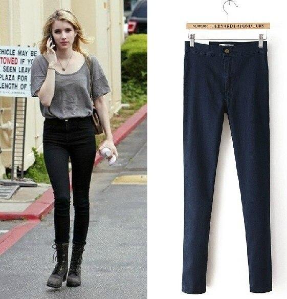 6 cores 2016 moda primavera vindima fino elástico apertado sexy cintura alta jeans skinny jeans calças calças mulheres calças lápis