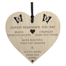 You Are Braver Stronger Smarter & Beautiful Wooden Hanging Heart Friends wall stickers home decor  Cartoons C320