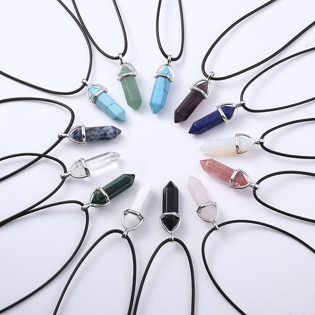 Fashion Women Vintage Crystal Bullet Natural Stone Quartz Necklace Pendant Choker Amethyst Turquoise Rope Chain Jewelry Bijoux