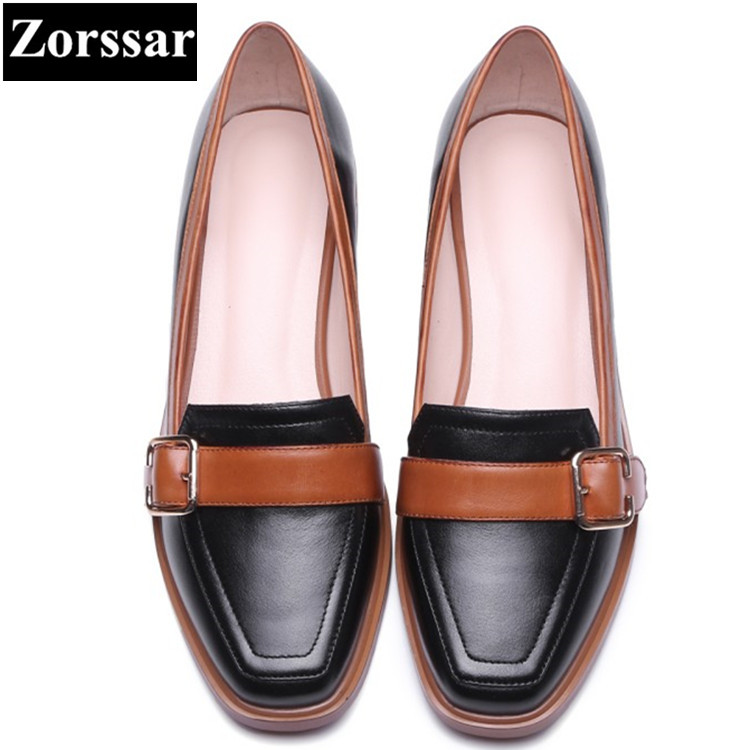 Genuine leather Square Toe Flats Oxford Shoes Women Single shoes 2017New  Fashion Lace-Up Summer Shoes Womens Flat Leather Shoes new 2017 spring summer women shoes pointed toe high quality brand fashion womens flats ladies plus size 41 sweet flock t179