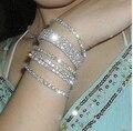Fashion Sweet Luxury Silver Plated Full Super Flash Crystal Rainstone Single-row Stretch Women Bracelet  Jewelry of B12