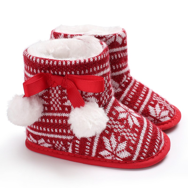 2018 Christmas Plus Cashmere Warm Red Maple Leaf Print Baby Ski Boots Hot Sale Baby Shoes M3