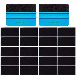 20 шт. Черный Войлок из углеродного волокна + 2 шт. синий пластиковый ракель для автомобиля виниловая пленка обертывание скребок для льда окон...