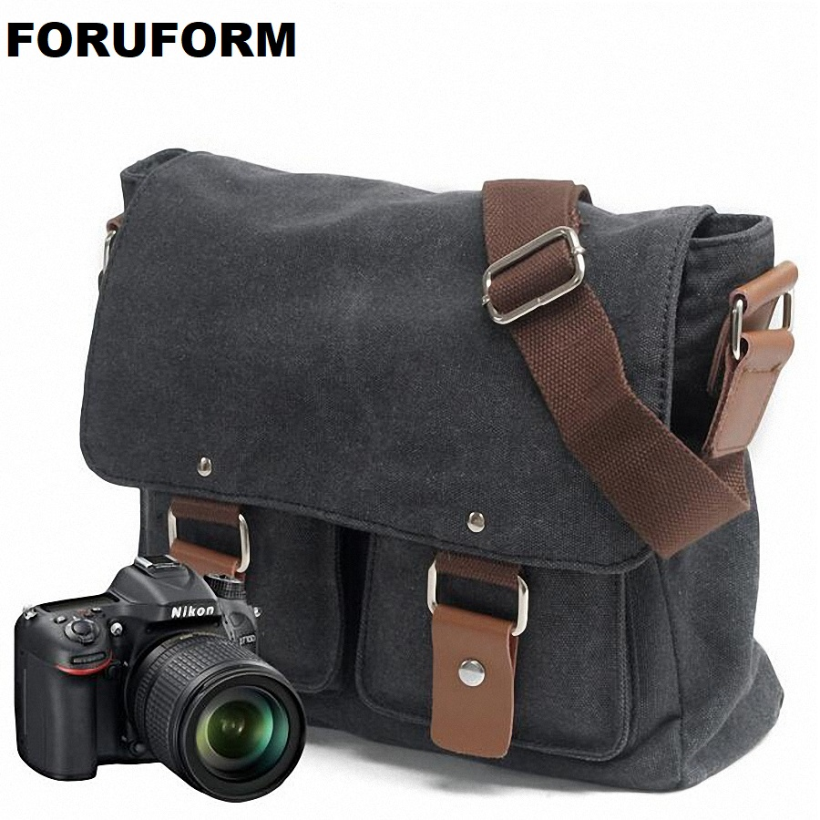 Portable Vintage Canvas DSLR Camera Shoulder Bag Diagonal Shoulder Messenger Bag for Canon for Nikon for Sony Olympus LI-1830 сумка для видеокамеры lowepro ii dslr canon nikon sony lp2rr