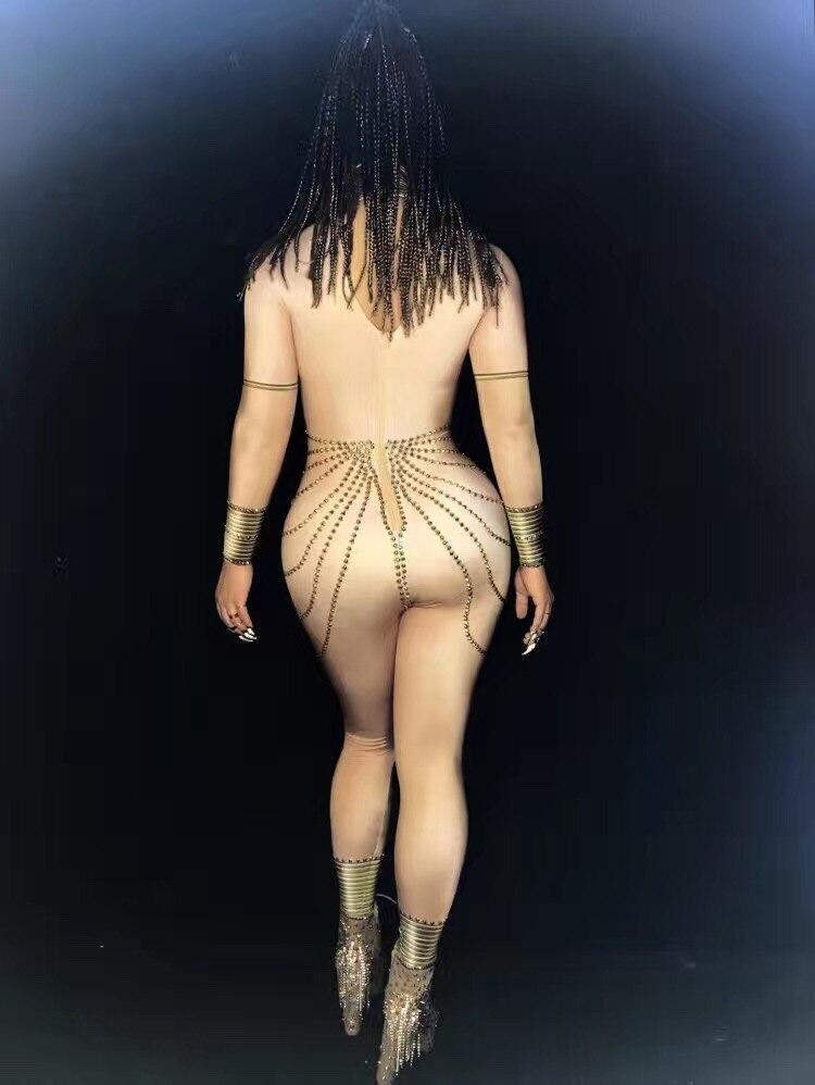 Spectacle Skinny D'étape Partie Combinaison Couleur Strass Nude Costume De Outfit Pôle Or Discothèque Sexy Chanteur Bar Danse Femmes wnOagxw