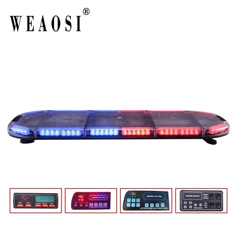 Police lightbar led warning flasher 80 leds 12V DC red blue light with IP68 waterproof 38 flash pattern led lightbar