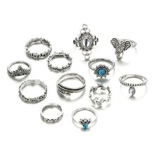 12 Pcs/Set Boho Carving Flowers Leaves Water Drop Stars Crystals Jewelry Joint Ring Set Of Lady Party Party Combines Silver Ring
