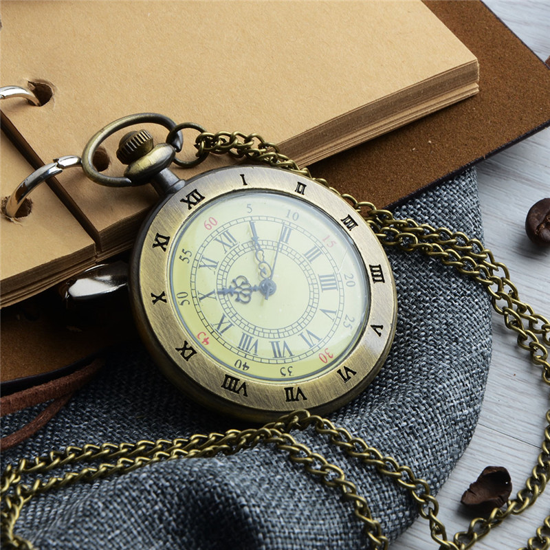 Relogio Retro Bronze Quartz Pocket Watch steampunk Clock Watches with Roman Number Necklace watches Mens Womens Christmas Gifts 2017 tops gifts vintage pocket watch sailboat ship bronze quartz watches for seaman man s clock necklace chain relogio de bolso