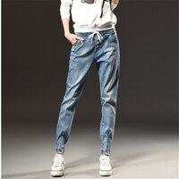 Sonbahar Kış Moda Yüksek Bel Kot Kadın Büyük Boy S-5XL Eğlence Ince Elastik Bel Bayanlar Vintage Harlan Pantolon Kadın Kot