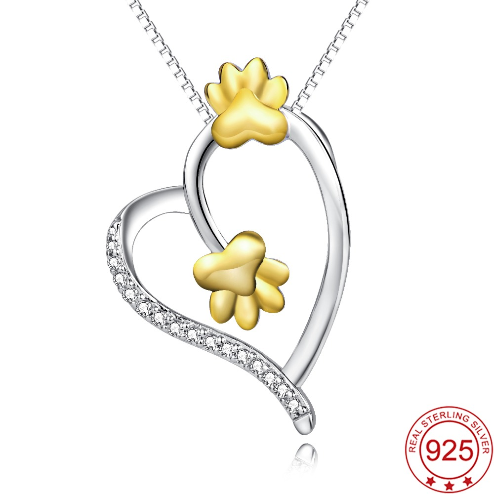 YFN Genuine 925 Sterling Silver Love Heart Crystal CZ Pendant Necklace Gold Dog Cat Paw Print