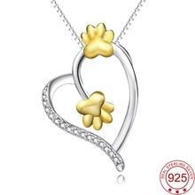 Yfn натуральная стерлингового серебра 925 пробы сердце любовь кристалл CZ ожерелье Золото собака/кошка лапу печати прекрасный украшения для Женские