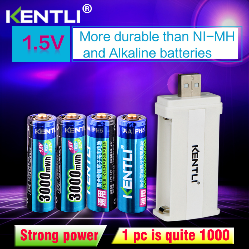 KENTLI 4pcs Low Self Discharge 1.5v 3000mWh AA Rechargeable Li-polymer Li-ion Polymer Lithium Battery +1 USB Smart Charger
