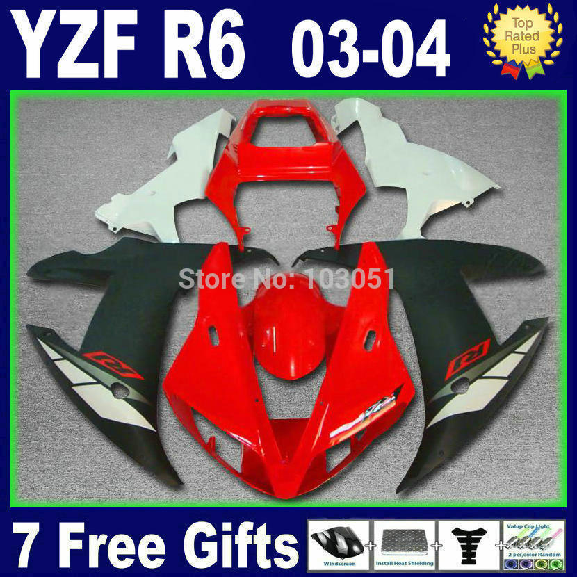 Custom Road race moto fairings For Yamaha YZF 2003 2004 2005 R6 R YZF R6 03 04 05 plastics  red white aftermarket fairing kits mfs motor motorcycle part front rear brake discs rotor for yamaha yzf r6 2003 2004 2005 yzfr6 03 04 05 gold