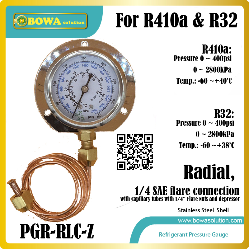 0~400psi, radial freon Pressure Gauge for R410a and R32, with capillary tube with 1/4 SAE flare nuts and depressor weixu fashion girls winter coat kids outerwear parka down jackets hooded fur collar outdoor warm long coats children clothing