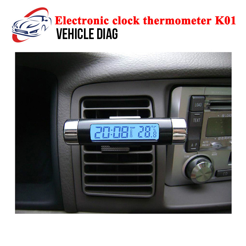 Mini LCD Clip-on Digital LED Display Automotive Thermometer Clock For Car Truck