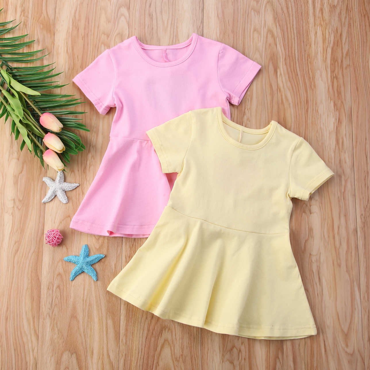 2018 Toddler Kids Baby Girls Solid Backless Twins Matching Party Dresses  Casual Summer Sundress Clothing 3ac67f62ef65